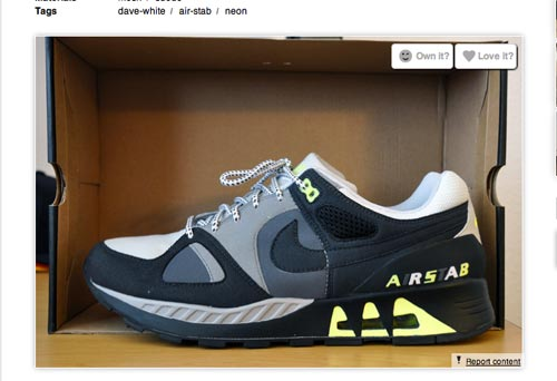 At the bottom right of each uploaded sneaker is the 'Report' button.