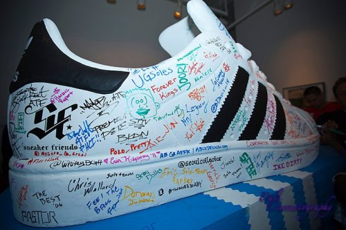 It looks like everyone who attended got to sign this giant adidas sneaker.