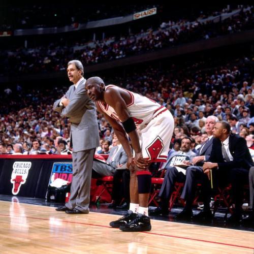 Michael Jordan wearing Penny Hardaway's shoes, the Nike Air Flight One.