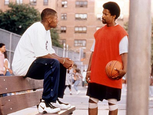 "Ray Allen as Jesus Shuttleworth wearing Nike Air Foamposite Pro with Denzel Washington in ""He Got Game"""