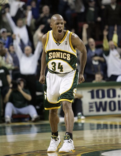 ... ray allen playing for the seattle supersonics in air jordan v 5 ... 8dd6c1928