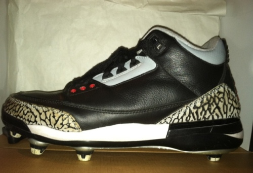 Jordan Retro 3 Black/Cement Cleats uploaded by mattgatorz