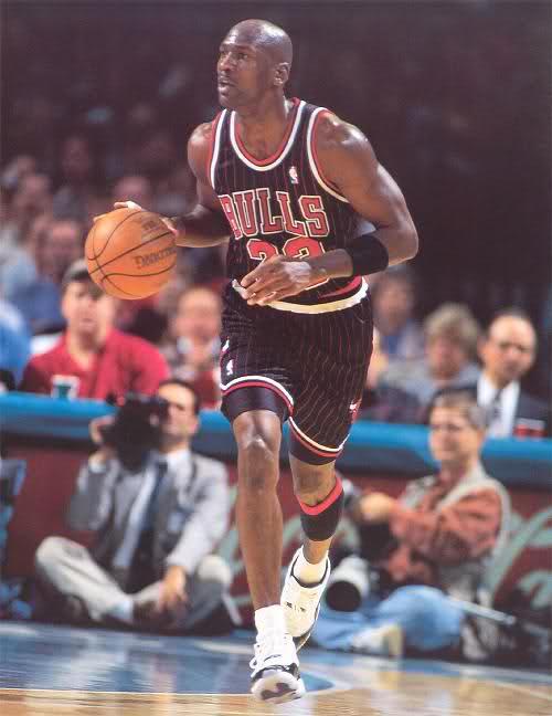 "Michael Jordan wearing Air Jordan XI ""Concords"""