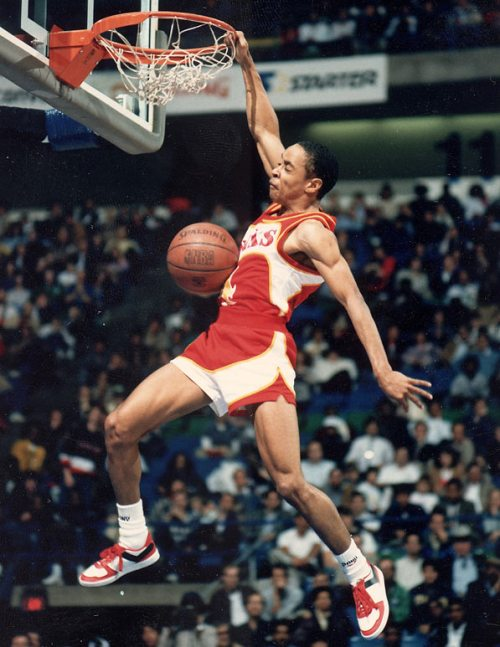 Spud Webb in the Slam Dunk Contest wearing Pony City Wings