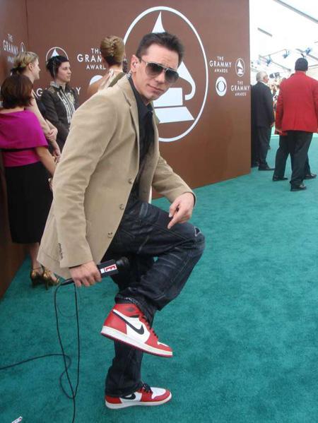 DJ AM wearing his custom Air Jordan 1's