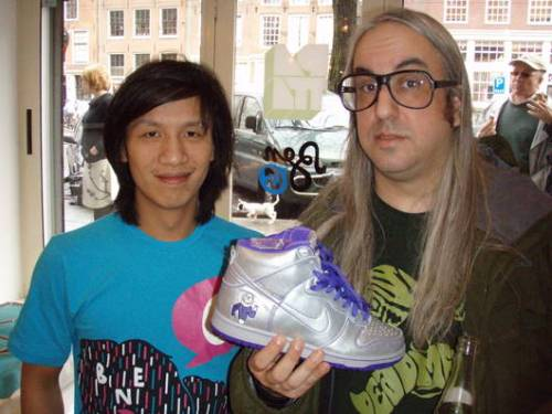 J Mascis holding a pair of Dinosaur Jr Dunk High Pro SB