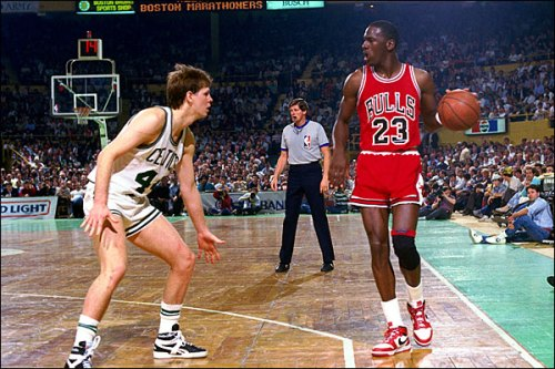 Michael Jordan scores 63 points against the Boston Celtics.