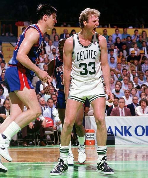Larry Bird wearing the Converse Weapon in 1987 courtesy of Sports Illustrated.