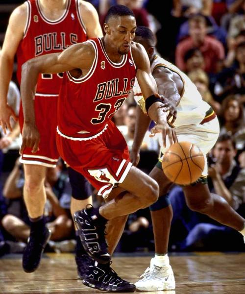 Scottie Pippen wearing the Nike Air More Uptempo