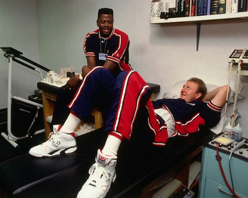 Larry Bird wearing Converse CONS in the Olympics in 1992